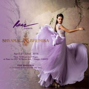 April 21-22nd Raaz Inc. presents Designers Shyamal & Bhumika in Chicago @ Raaz Inc. | Chicago | Illinois | United States