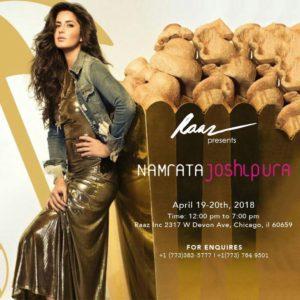 April 19-20th Raaz Inc. presents Designer Namrata Joshipura in Chicago @ Raaz Inc. | Chicago | Illinois | United States